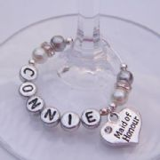 Maid Of Honour Personalised Wine Glass Charm - Elegance Style